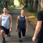 clients performing lunges in the Adelaide Botanic Garden