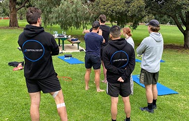 group personal training group in park