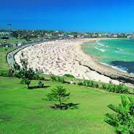 Bondi beach image with park, sand and ocean