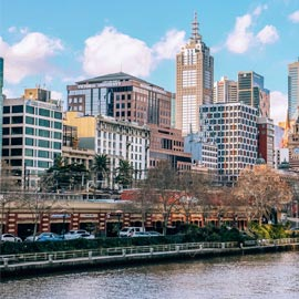 Melbourne CBD with Yarra River in foreground