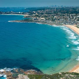 High drone image or Sydney Northern Beaches