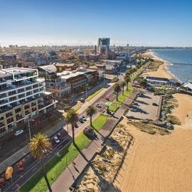 Drone photo of Port Melbourne beach
