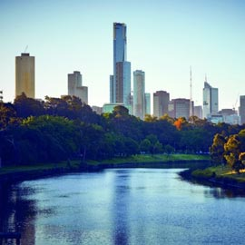 South Yarra looking at the city skyline with Yarra river